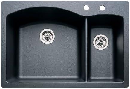 Blanco 440199-2 Diamond 2-Hole Double-Basin Drop-In or Undermount Granite Kitchen Sink, Anthracite