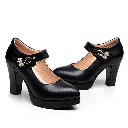 Leather Lederschuhe Schwarz Schuhe MHSXN Shoes Workplace Wasserdichte Damen Spitze Formale Damen Retro Plattform 6vqY5wBq