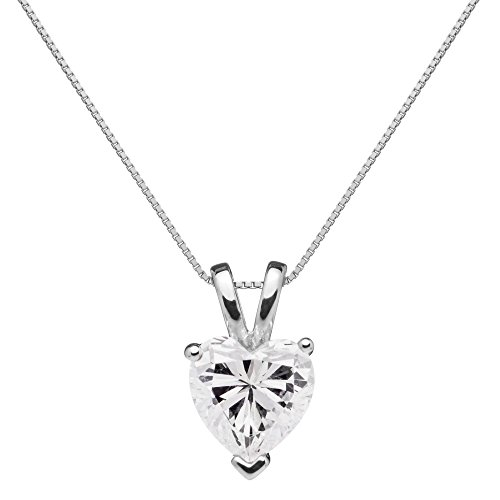 14K Solid White Gold Pendant Necklace | Heart Cut Cubic Zirconia Solitaire | 2 Carat | 16 Inch .60mm Box Link Chain | With Gift ()