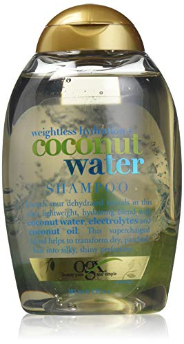 OGX Weightless Hydration + Coconut Water Shampoo, 13 Ounce Bottle,  , Lightweight Hydrating Formula  Sulfate-Free Surfactants (Best Way To Remove Makeup From Carpet)