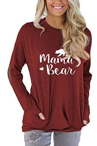 Pink Queen Women's Round Neck Mama Bear Elbow Patch T Shirt Top Wine Red Size XL Bear Womens Dark T-shirt