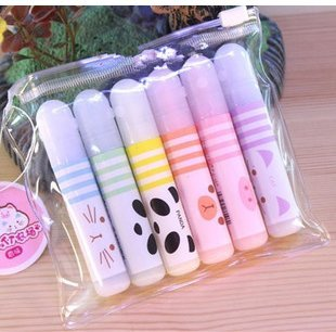Set of 6 Cute Kawaii Novelty Cartoon Colored Mini Animals Fluorescent Ink Markers Highlighters Pens 6 Different Colors Set For (Mini Fluorescent Highlighter)