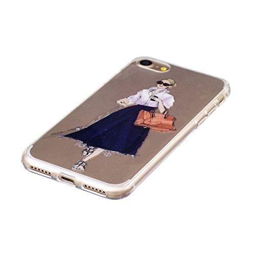 Crisant Trend Mädchen Drucken Design weich Silikon Ultra dünn TPU Transparent schutzhülle Hülle für Apple iPhone 7 4.7'' (4,7''),Premium Handy Tasche Schutz Case Cover Crystal Bumper Schale für Apple