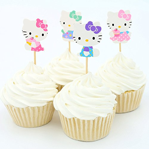 Aiming West Set of 24 Cute Hello Kitty Cake Cupcake or Muffin Toppers for Birthday Party or Baby Shower (Hello Cupcake Toppers Kitty)
