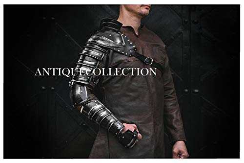 Medieval Single Pauldron Metal Sleeve Shoulder Arm Armor for Spartacus Cosplay LARP Costume Black