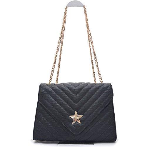 Vain Secrets Stern Damen Umhänge Handtasche mit Schulterriemen in Gold gesteppt