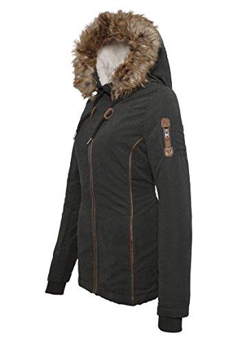 Femme Doublure D'hiver À Urban Intérieure En Veste Fausse Surface Capuche Légère Avec Noir Et Fourrure Manteau Pour qnSpI