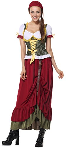Lusiya Women's Renaissance Wench Costume Red-green Small/Medium (Plus Size Renaissance Wench Costume)