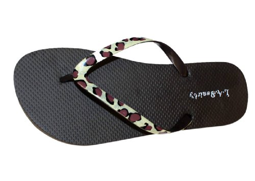 Womens Flip Flop With Cheetah print Straps and Comportable Footbed