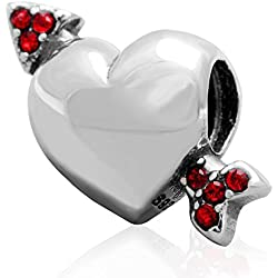 Choruslove Arrow of Cupid Love Charm with Red Crystal 925 Sterling Silver Heart Bead for European Valentines Day Gift Bracelet