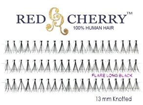 Flare Long Black Individual Eyelashes by Red Cherry (6 Packs)