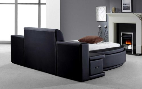 leather circle beds for kids | Vig Furniture Owen Black Leather Round Bed with Storage ...