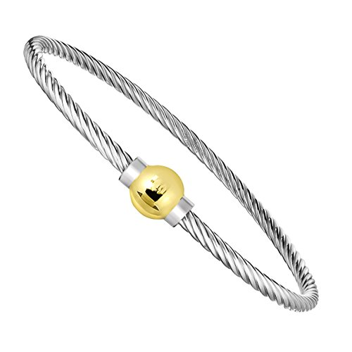 Unique Royal Jewelry Ocean Side Bracelet 925 Sterling Silver and 14K Solid Gold Ball Screw Twisted Bangle Bracelet. (6.5) Double Cable Bangle Bracelet