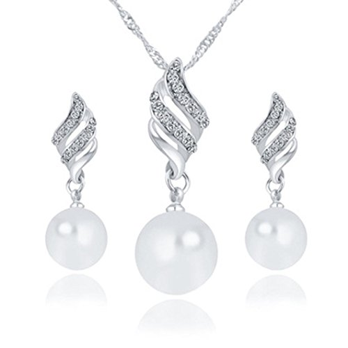 3 Female Costumes (iLH® Clearance Deals Necklace+Earrings Jewelry Set Womens Luxury Spiral Shaped Pearl Stud Earrings&Necklace Jewelry by ZYooh (Silver))