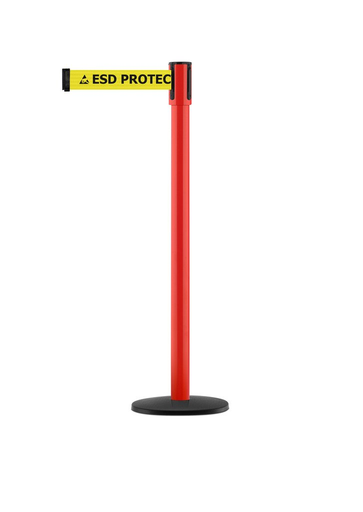 Tensabarrier - 890B-33-21-21-STD-NO-ESD-C - red post, 2'' wide, 7'6'' length ''ESD'' with Logo belt