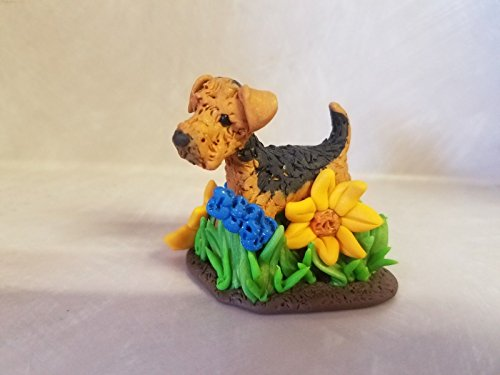 DOG Airedale Grass and Flowers Miniature Figurine HAND MADE ooak SUNFLOWERS ()