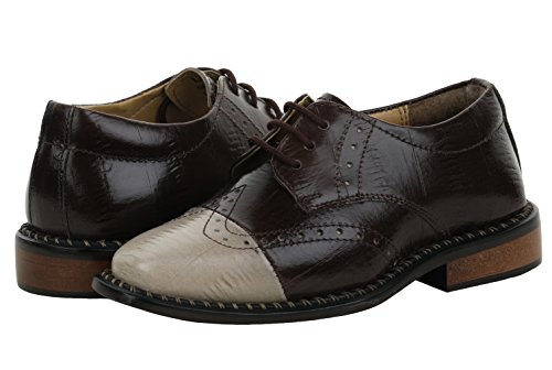 Image of Liberty Boys Gliders Genuine Leather EEL Skin Printed Lace Up Dress Shoes (Size 13 US/Age 4-8 Years/Length 19.5Cm, Brown/Beige)