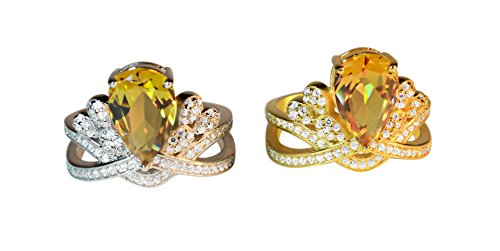 Zultanite gem ring alexandrite changing colors gem fine jewelry 925 sterling silver micro paved speccially designed classic pear stone shape fancy diamond style engagement ring (Rhodium, 8) by Tingle (Image #4)