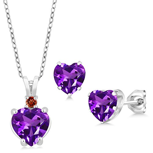 - 2.79 Ct Heart Shape Purple Amethyst 925 Sterling Silver Pendant Earrings Set