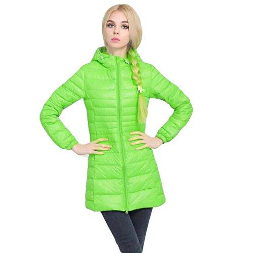 FEITONG Mujer Invierno Chaqueta Capa dama Ultra Ligero delgado Encapuchado Chaquetas de abrigo Abajo abrigo Verde