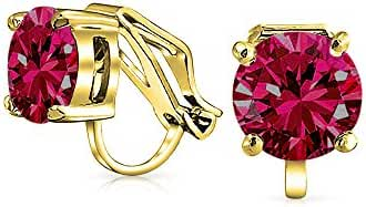 Bling Jewelry Gold Plated Solitaire Synthetic Ruby Clip On Stud Earrings