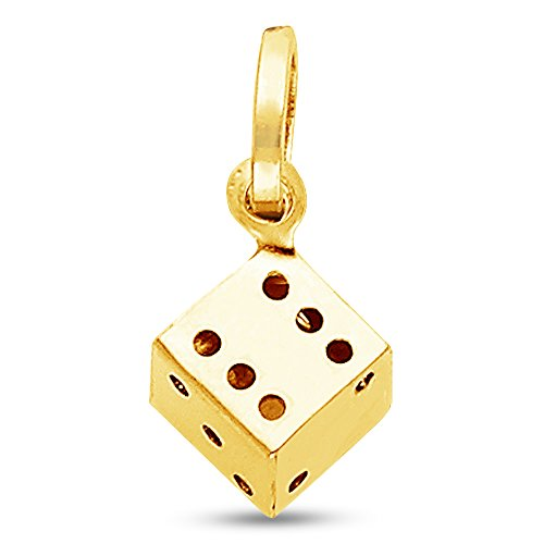 Jewel Tie Solid 14K Yellow Gold 3D Dice Pendant Charm 10.5x10 mm