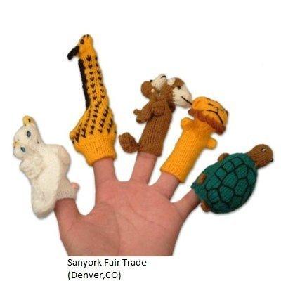 Fair Trade Peruvian Finger Puppets Set of 5 Assortment Birds, Animals & Insects