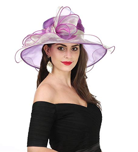 SAFERIN Women's Organza Church Kentucky Derby Fascinator Bridal Tea Party Wedding Hat(Purple Gold Bow)