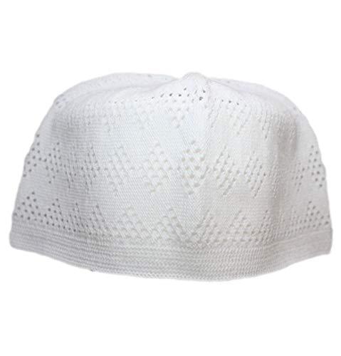 (White One-size Turkish Muslim Islamic Kufi Hat Taqiya Takke Peci Skull Cap)