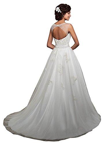 Prinzessin Spitze Brautkleider Damen Hochzeitskleider Weiß Brautmode Abendkleider Elegant Beyonddress wx1gvZ