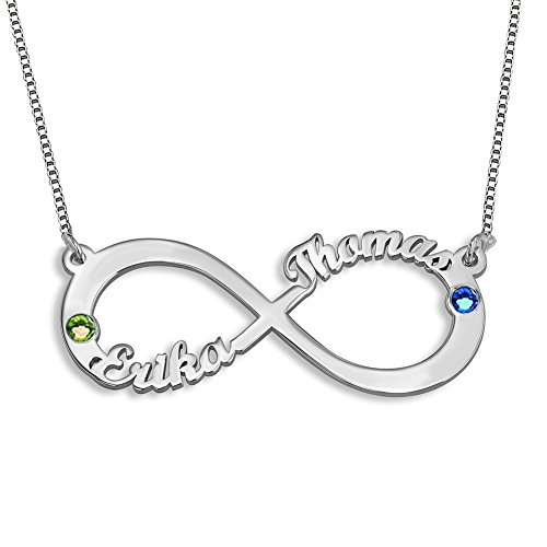 Ouslier 925 Sterling Silver Personalized Birthstone Infinity Lover Name Necklace Custom Made with 2 Names