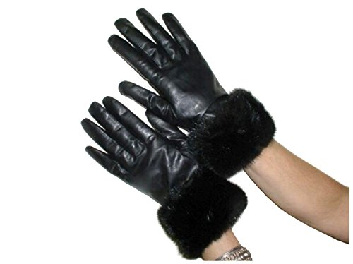 (Cashmere Lined Black Lambskin Leather Gloves w/Mahogany Mink Trim 8)