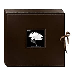 Pioneer 12 Inch by 12 Inch D-Ring Sewn Leatherette Scrapbook Box, Brown