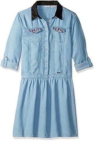 GUESS Big Girls' Denim Collar Dress with Sequin Pockets, Light Bleach Wash, 16 - Sequin Pocket Jean