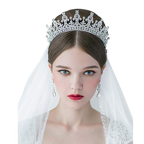 Wdw Halloween Decorations (SWEETV Royal Wedding Crown CZ Crystal Pageant Birthday Tiara Bridal Headpiece Women Princess Hair Jewelry,)
