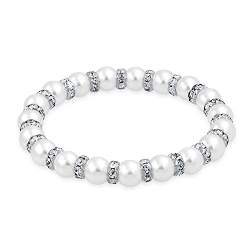 Bling Jewelry White Simulated Pearl Stackable Strand Stretch Bracelet for Women White Crystal Rondelle Spacer Silver Plated Brass