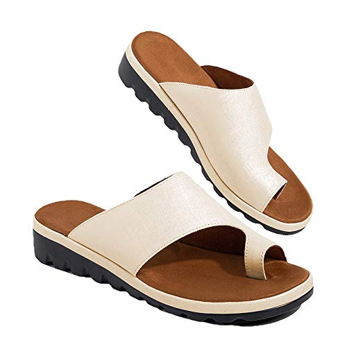 Chenghe Women's Flip Flop Wedge Sandal Comfort Open Toe Thong Slid Slippers Summer Beach Travel Sandal Shoes Golden US 8