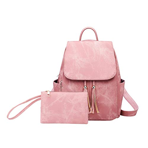 Pengy 2PC Women Fashion Tassel Backpack Messenger Handbag Ladies Totes Shoulder Backpacks Bags ()