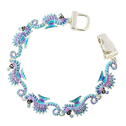 Silver Tone Magnetic Clasp Tropical Ocean Theme Blue/Purple Seahorse Charm Bracelet for Women and Teens