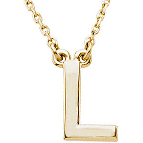 Block Initial Necklace (16 Inch) in 14K Yellow Gold