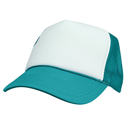 Foam Trucker Hat Cap - DALIX Two Tone Trucker Hat Summer Mesh Cap with Adjustable Snapback Strap (Teal/White)