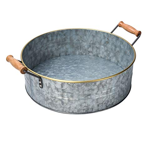 Outshine Rustic Farmhouse Galvanized Metal Tray Tub with Gold Rim and Wood Handles- Kitchen Bathroom Living Room Décor, Centerpiece, Storage - 12.2