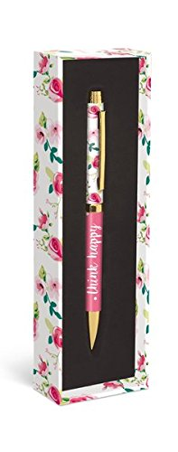 Graphique Pretty Floral Fashion Pen, 5.5 Refillable Black Ink Ballpoint Pink w/ Think Happy Quote & Matching Gift Box, Makes a Beautiful, Unique Gift