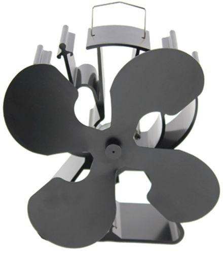 Heat Powered 4 Blade Stove Fan From Boone Hearth for Wood Stoves. FREE Stove Thermometer Included.
