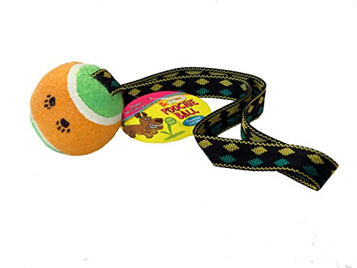 Tennis Ball with Tug Strap | Scoochie Poochie | Tough balls for dogs