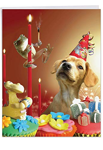Supersized Happy Bday Notecard With Envelope 8.5 x 11 Inch - Humorous 'Puppy Love' Congratulations Greeting Card - Dog Strapped With A Party Hat Surrounded By Gifts and Cupcakes - HBD Card J6546EBDG