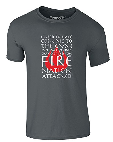 Brand88 Hated The Gym Until The Fire Nation Attacked, Adults T-Shirt - Charcoal/White XL