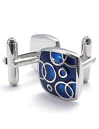 Konov Jewelry 2pcs Classic Elegant Square Shirts Mens Cufflinks Wedding, Blue Silver, 1 Pair, with Gift Bag, C22062