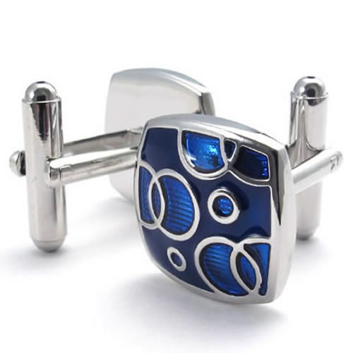 KONOV 2pcs Rhodium Plated Square Men's Shirts Vintage Pattern Cufflinks Wedding, Blue Silver, 1 Pair (Pattern Silver Cufflinks)