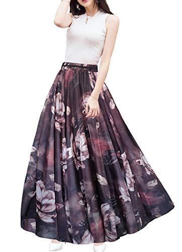 Afibi Boho Floral Long Summer Beach Chiffon Wrap Cover Up Maxi Skirt for Women (Small, Pattern 107)